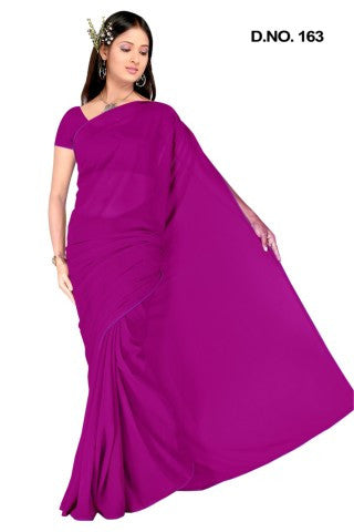 Comely Faux Georgette Saree In Dark Pink - atisundar - 1 - click to zoom