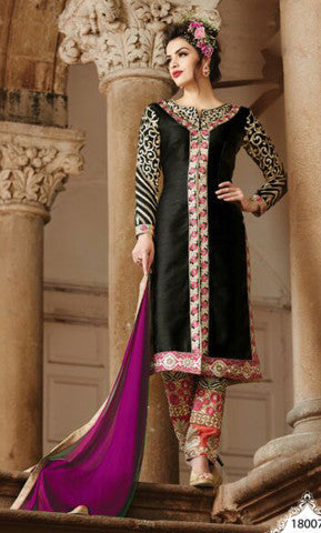 Embroidered Straight Cut Suit:atisundar bewitching Black Designer Straight Cut  - 7821 - atisundar - 1 - click to zoom