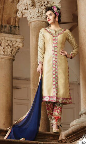Embroidered Straight Cut Suit:atisundar Great Beige Designer Straight Cut  - 7822 - atisundar - 2