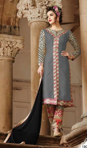 Embroidered Straight Cut Suit:atisundar beauteous Grey Designer Straight Cut  - 7823 - atisundar - 2