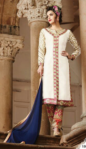 Embroidered Straight Cut Suit:atisundar superb White Designer Straight Cut  - 7824 - atisundar - 2