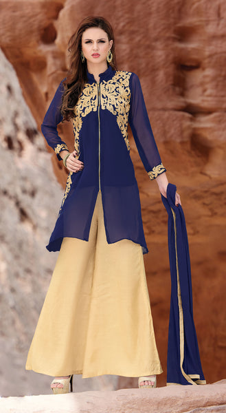 Designer Straight Cut:atisundar radiant Blue Palazzo - 8179 - click to zoom