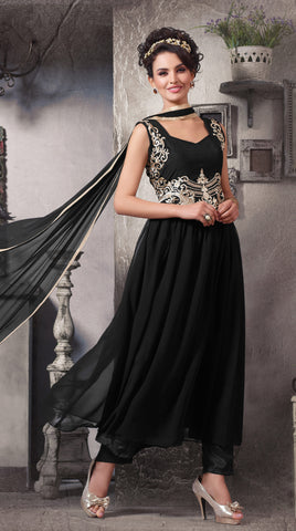 Designer Embroidered Suit:atisundar exquisite Black Designer Embroidered Suits - 8410 - atisundar - 2