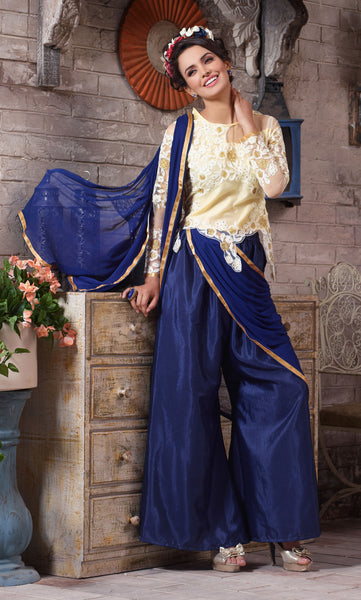 Designer Embroidered Suit:atisundar radiant Blue Designer Embroidered Suits - 8411 - click to zoom