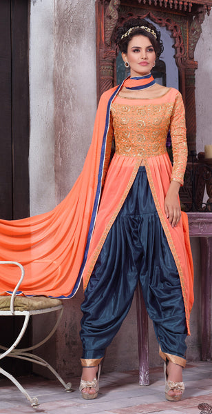 Designer Embroidered Suit:atisundar Alluring Peach Designer Embroidered Suits - 8413 - click to zoom
