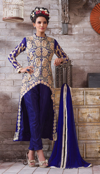 Designer Embroidered Suit:atisundar Smart Blue Designer Embroidered Suits - 8415 - atisundar - 2 - click to zoom