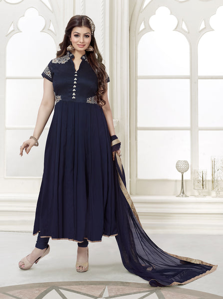 The Ayesha Takia Collection:atisundar stunning Blue Designer Party Wear Straight Cut Suits In Faux Georgette - 9547 - click to zoom