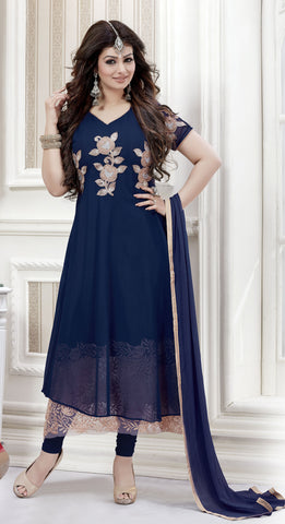 The Ayesha Takia Collection:atisundar admirable Blue Designer Party Wear Straight Cut Suits In Faux Georgette - 9551 - atisundar - 1 - click to zoom