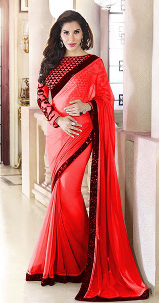 Designer Printed Saree:atisundar magnificent Designer Printed Saree in Red And Black  - 7877 - atisundar - 2 - click to zoom