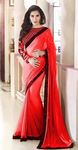 Designer Printed Saree:atisundar magnificent Designer Printed Saree in Red And Black  - 7877 - atisundar - 2