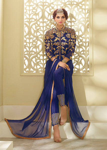 Designer Embroidered Straight Cut:atisundar fair Blue Designer Straight Cut Embroidered Suits - 8774 - atisundar - 2 - click to zoom
