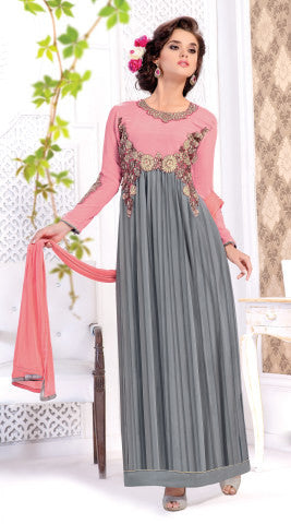 Designer Straight Cut:atisundar Awesome Peach And Grey Designer Straight Cut  - 8446 - atisundar - 1 - click to zoom