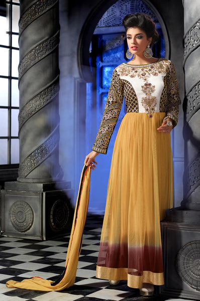 Designer Embroidered Anarkali:atisundar refined Yellow Anarkali - 8460 - atisundar - 2 - click to zoom