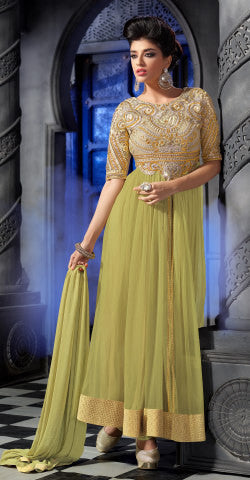 Designer Embroidered Anarkali:atisundar divine Lemon Green Anarkali - 8461 - atisundar - 1 - click to zoom
