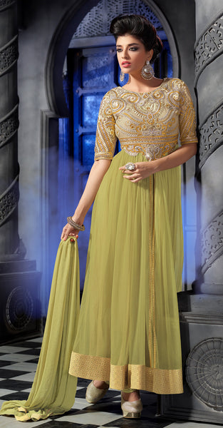 Designer Embroidered Anarkali:atisundar divine Lemon Green Anarkali - 8461 - click to zoom