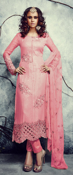 Designer Embroidered Straight Cut Suits:atisundar magnificent Pink Designer Embroidered Straight Cut Suits In Faux Georgette - 9506 - atisundar - 2 - click to zoom
