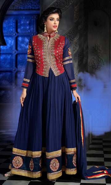 Designer Embroidered Anarkali:atisundar fascinating Nevy Blue Anarkali - 8465 - click to zoom