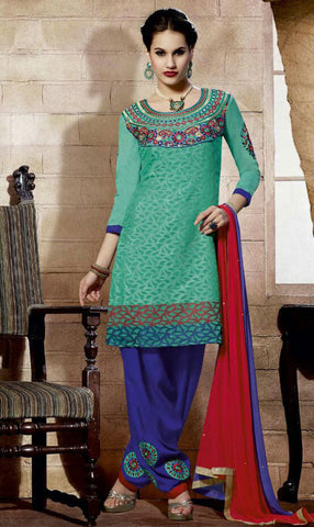 Designer Embroidered Straight Cut Suit:atisundar charming Green Designer Straight Cut Embroidered Suits - 9134 - atisundar - 2 - click to zoom
