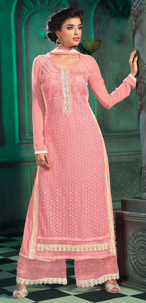 Designer Straight Cut Suit!:atisundar cute Pink Designer Straight Cut Salwar Suit Material - 8790 - click to zoom