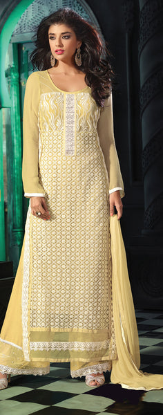 Designer Straight Cut Suit!:atisundar magnificent Yellow Designer Straight Cut Salwar Suit Material - 8793 - click to zoom