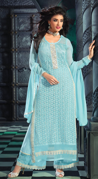 Designer Straight Cut Suit!:atisundar lovely Turquoise Blue Designer Straight Cut Salwar Suit Material - 8797 - click to zoom