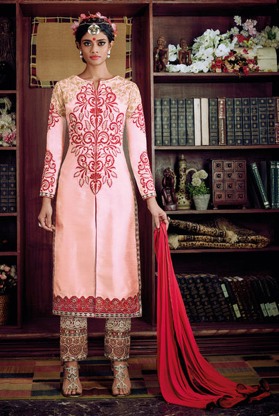 Desiner Stright cut:atisundar fascinating Pink Designer Straight Cut  - 8661 - click to zoom