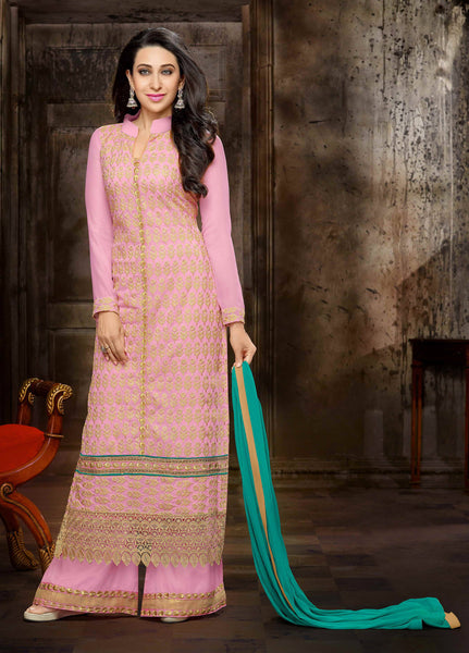 The Karishma Kapoor Collection:atisundar Great Pink Designer Straight Cut  - 7506 - click to zoom