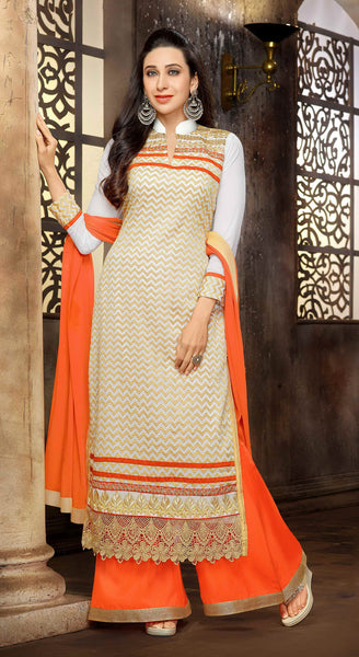 The Karishma Kapoor Collection:atisundar Awesome Off White Designer Straight Cut  - 7509 - atisundar - 2 - click to zoom