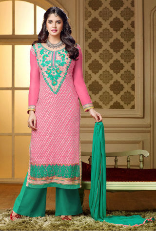 Designer Straight Cut:atisundar gorgeous Pink Designer Straight Cut  - 7550 - atisundar - 1 - click to zoom