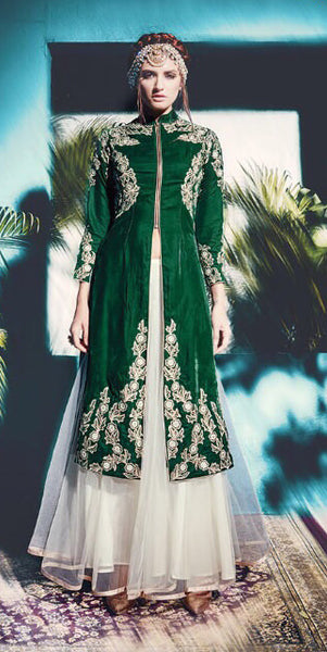 Designer Straight Cut Suit:atisundar divine Green Designer Straight Cut Embroidered Suits - 9140 - click to zoom