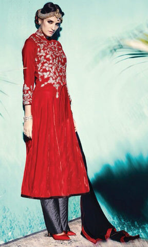 Designer Straight Cut Suit:atisundar Superb Red Designer Straight Cut Embroidered Suits - 9144 - atisundar - 2 - click to zoom