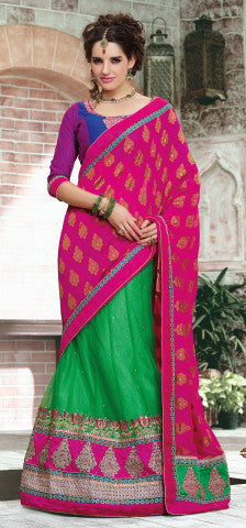 Designer Embroidered Lehenga Saree:atisundar elegant Dhupion Designer Embroidered Lehenga Saree in Blue And Pink - 6326 - atisundar - 1 - click to zoom