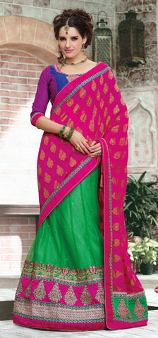 Designer Embroidered Lehenga Saree:atisundar elegant Dhupion Designer Embroidered Lehenga Saree in Blue And Pink - 6326 - atisundar - 3 - click to zoom