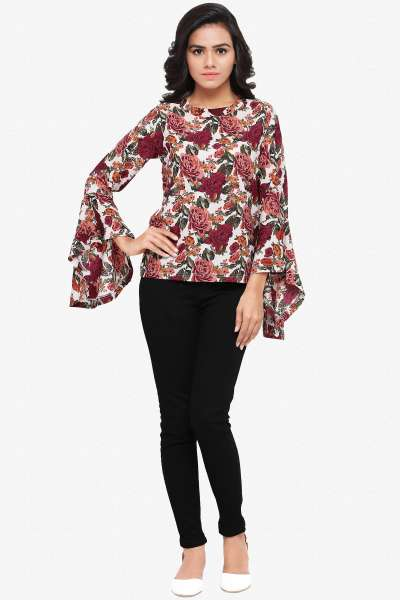 Designer Party Wear Top:atisundar excellent American Crepe Designer Top in American Crepe in Multi - 14050 - click to zoom