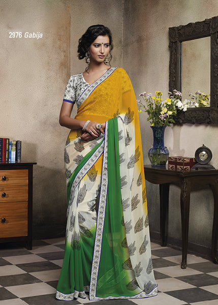 Florence:Bewitching Mehndi Colored Designer Embroidery Saree Saree - 4259 - atisundar - 3 - click to zoom
