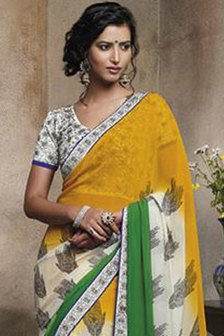 Florence:Bewitching Mehndi Colored Designer Embroidery Saree Saree - 4259