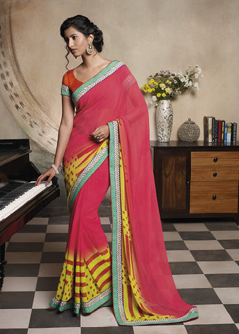 Florence:Lovely Pink Colored Designer Embroidery Saree Saree - 4267 - atisundar - 3 - click to zoom