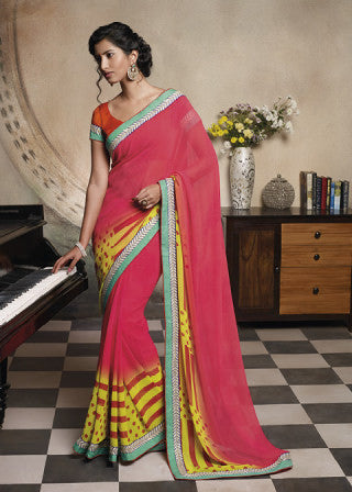 Florence:Lovely Pink Colored Designer Embroidery Saree Saree - 4267 - atisundar - 1 - click to zoom