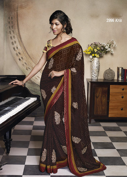 Florence:Enticing Brown Colored Designer Embroidery Saree Saree - 4279 - atisundar - 3 - click to zoom