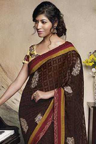 Florence:Enticing Brown Colored Designer Embroidery Saree Saree - 4279