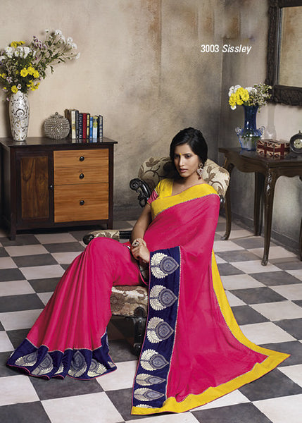 Florence:Lovely Pink Colored Designer Embroidery Saree Saree - 4286 - atisundar - 3 - click to zoom