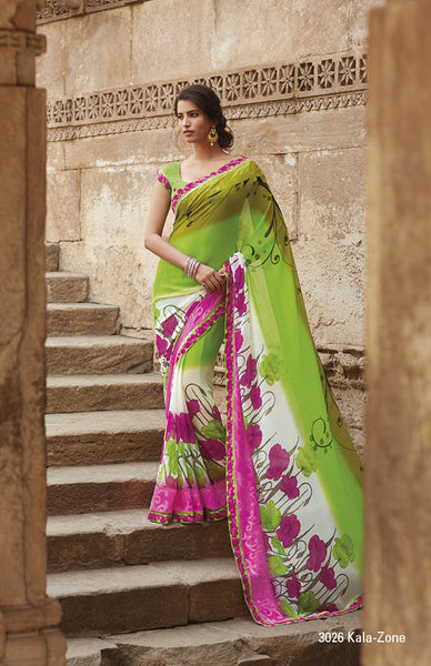 Krishna Kali:Refined Green Colored Printed Designer Saree With Border Saree - 4240 - click to zoom