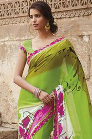 Krishna Kali:Refined Green Colored Printed Designer Saree With Border Saree - 4240