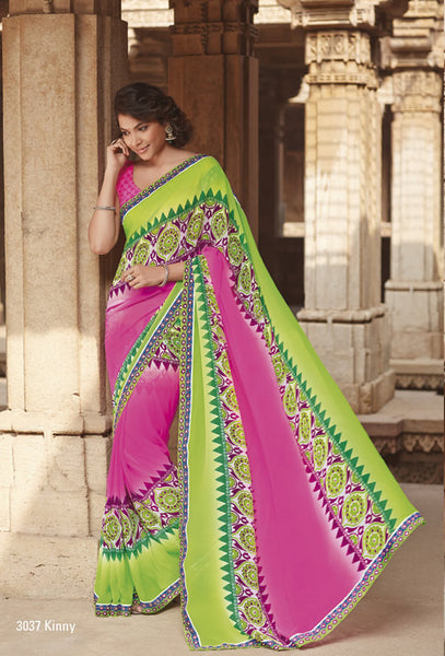 Krishna Kali:atisundar Minal: Delightful Neon Pink Colored Saree In Georgette - 4251 - atisundar - 2 - click to zoom