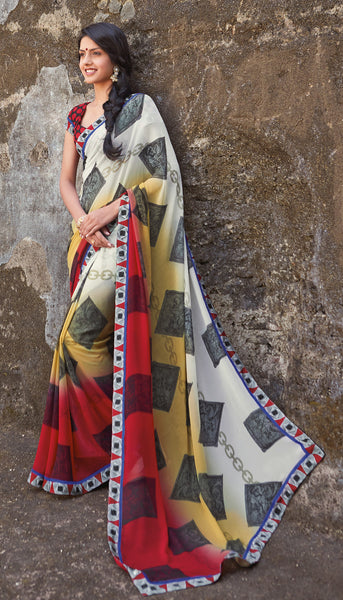 Kabiree:atisundar   charming Printed Designer Saree with Border in Red  - 4478 - atisundar - 3 - click to zoom