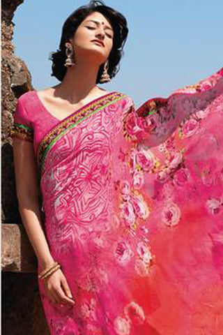 Kabiree:atisundar   splendid Printed Designer Saree with Border in Neon Pink  - 4482