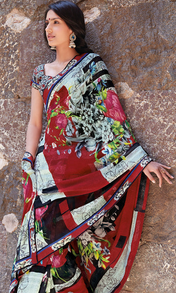 Kabiree:atisundar   fair Printed Designer Saree with Border in Red  - 4483 - atisundar - 3 - click to zoom