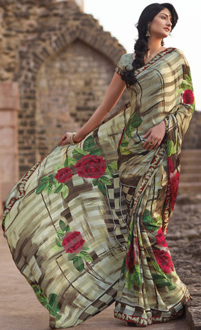 Kabiree:atisundar   cute Printed Designer Saree with Border in Brown  - 4485 - atisundar - 2