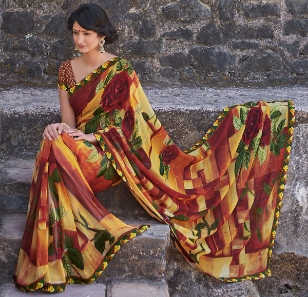 Kabiree:atisundar   fascinating Printed Designer Saree with Border in Firebrick  - 4486 - atisundar - 3 - click to zoom