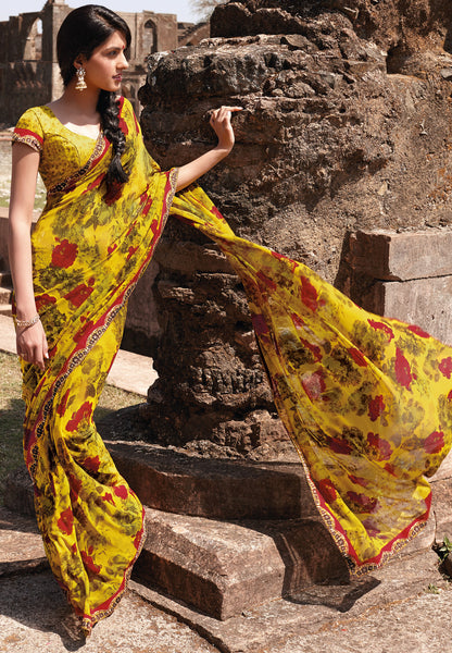 Kabiree:atisundar   appealing Printed Designer Saree with Border in Mustard   - 4491 - atisundar - 2 - click to zoom